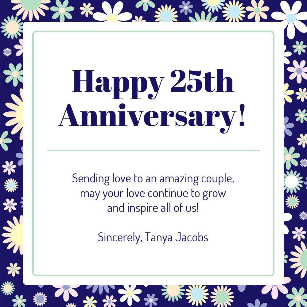 Floral 25th Wedding Anniversary Card Template