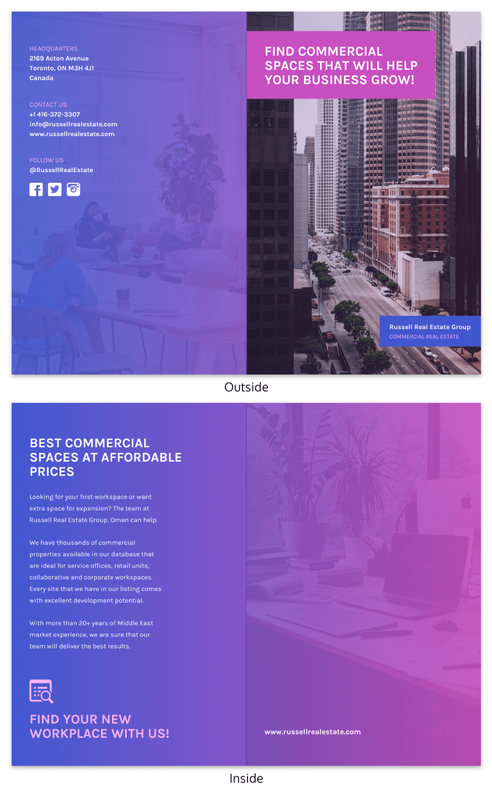 Purple Gradient Real Estate Bi Fold Brochure Template