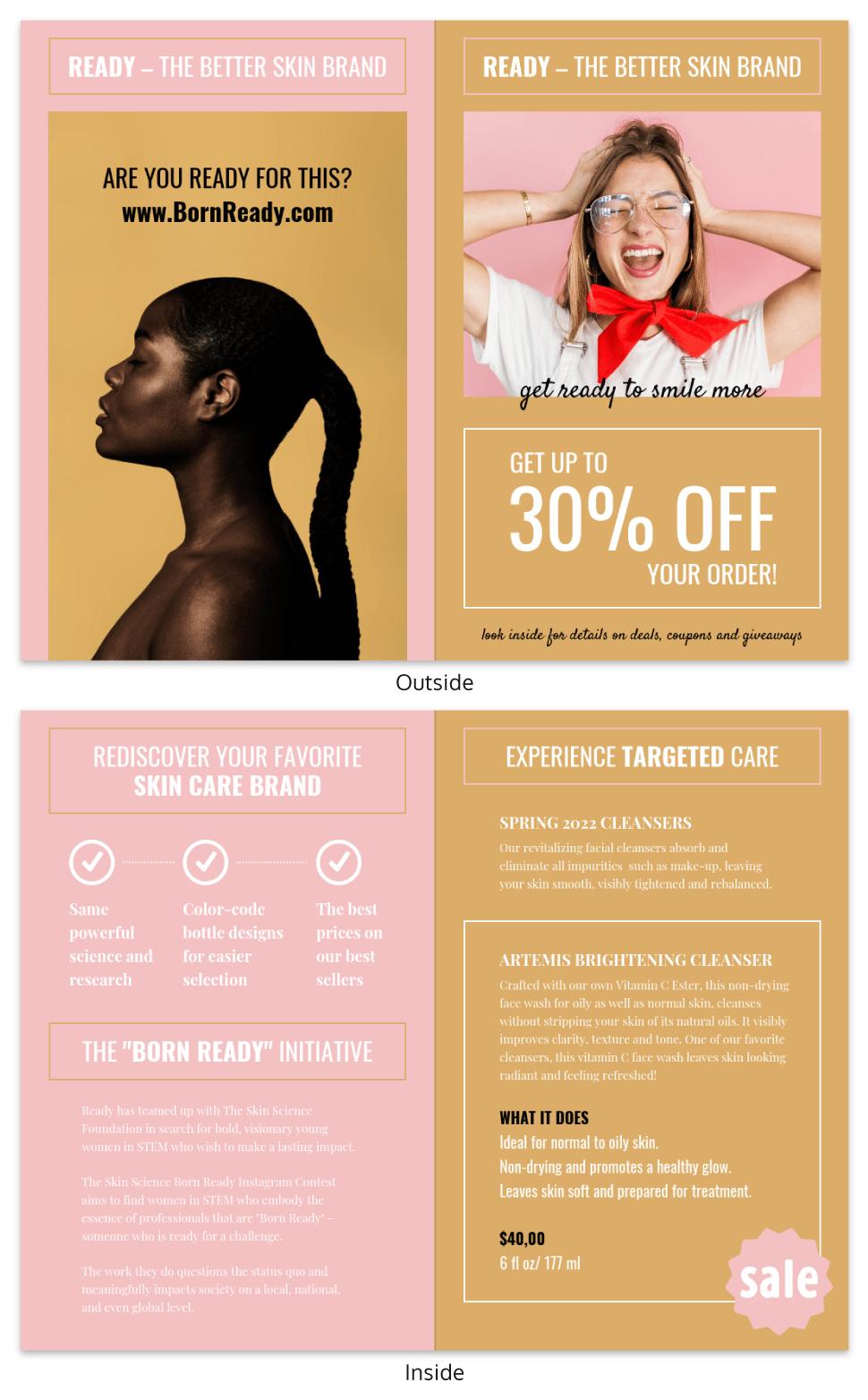 Skincare Product Bi Fold Brochure Template