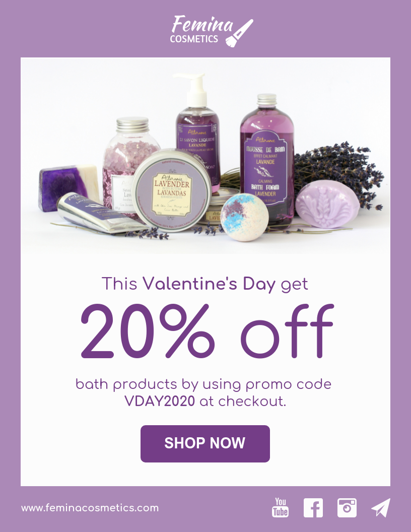 Cosmetics Brand Valentine's Day Email Newsletter Template