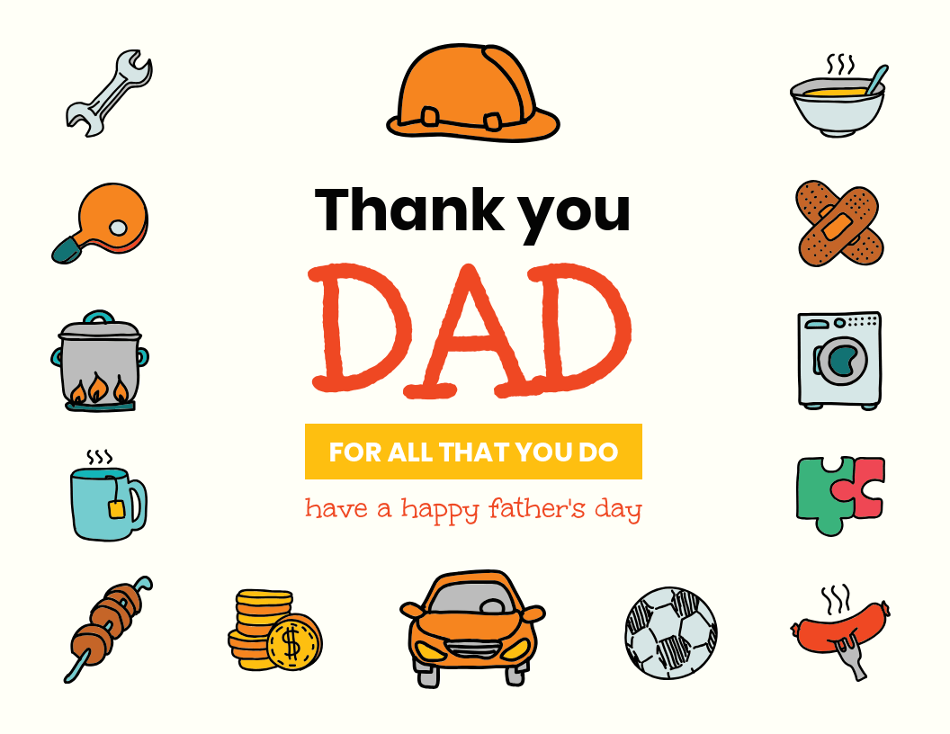 thank you dad card template template venngage