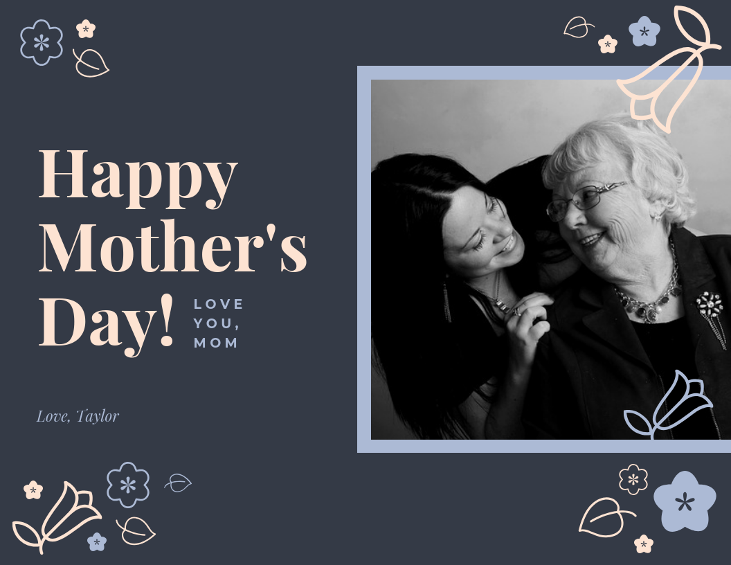 Dark Happy Mother's Day Card Template