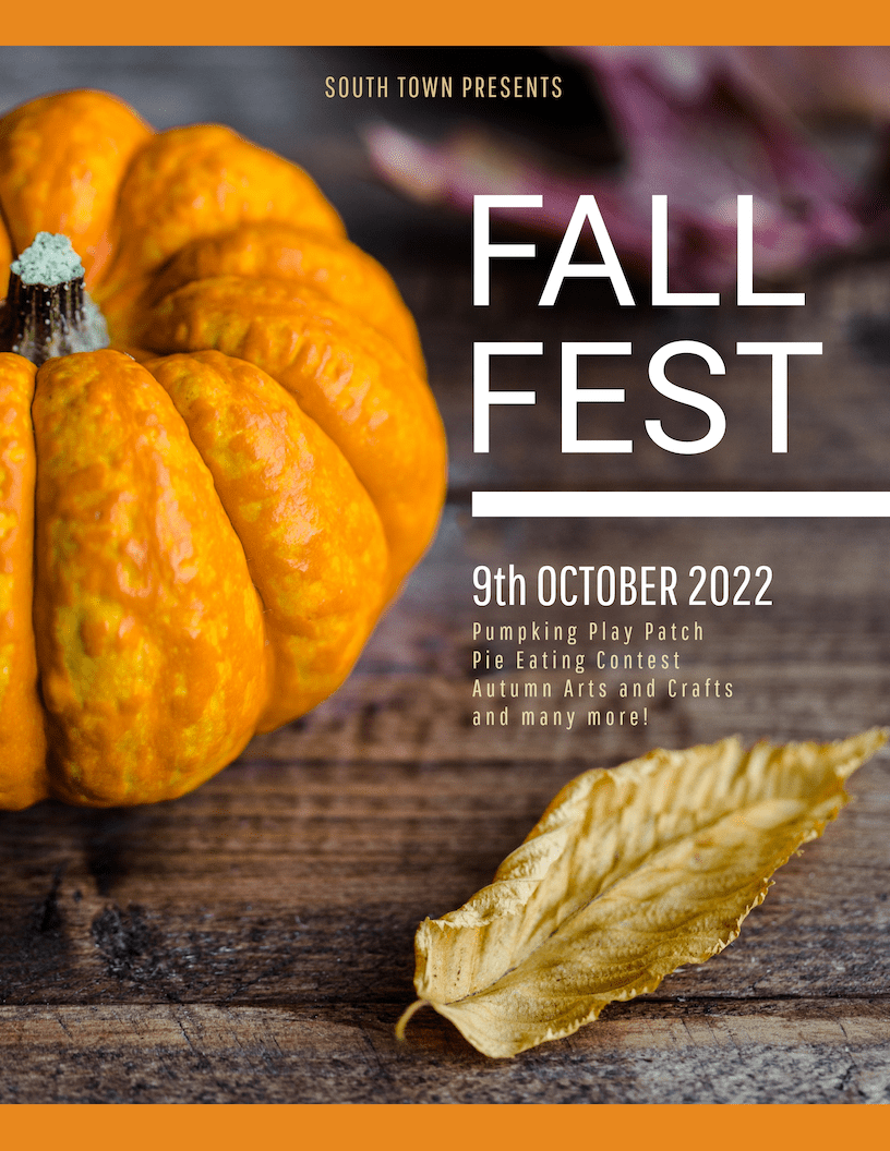 Orange Fall Festival Event Poster Template