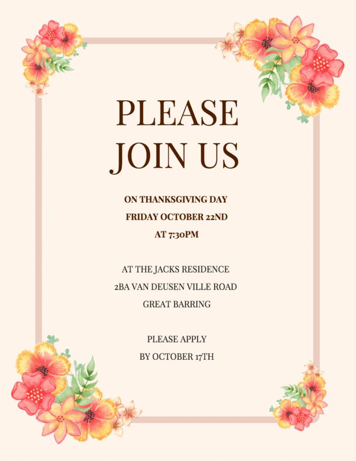 Formal Thanksgiving Invitation Template Venngage