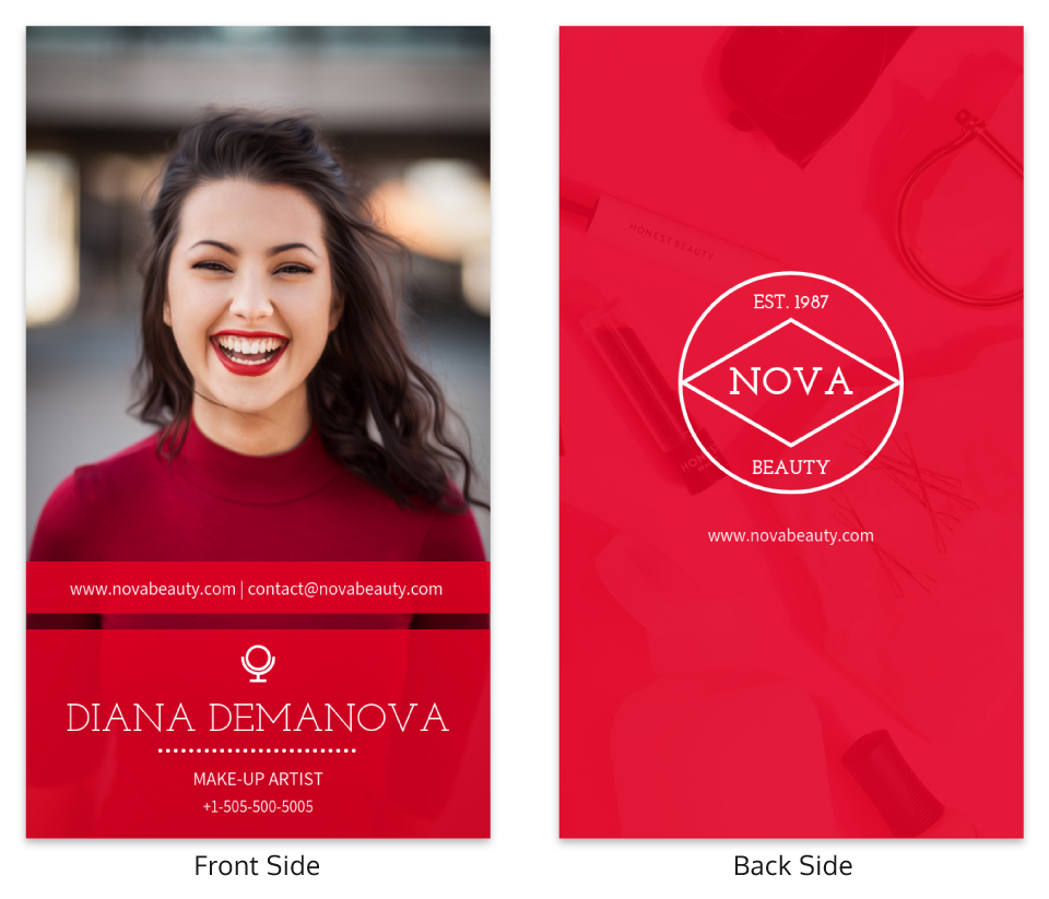 Red Photographic Makeup Business Card Template
