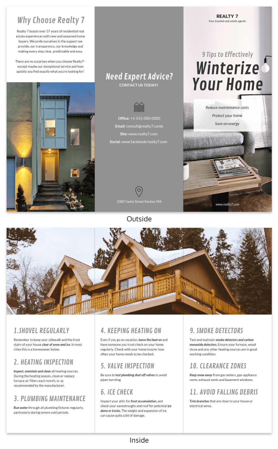 Gray Real Estate Informational Tri Fold Brochure Template