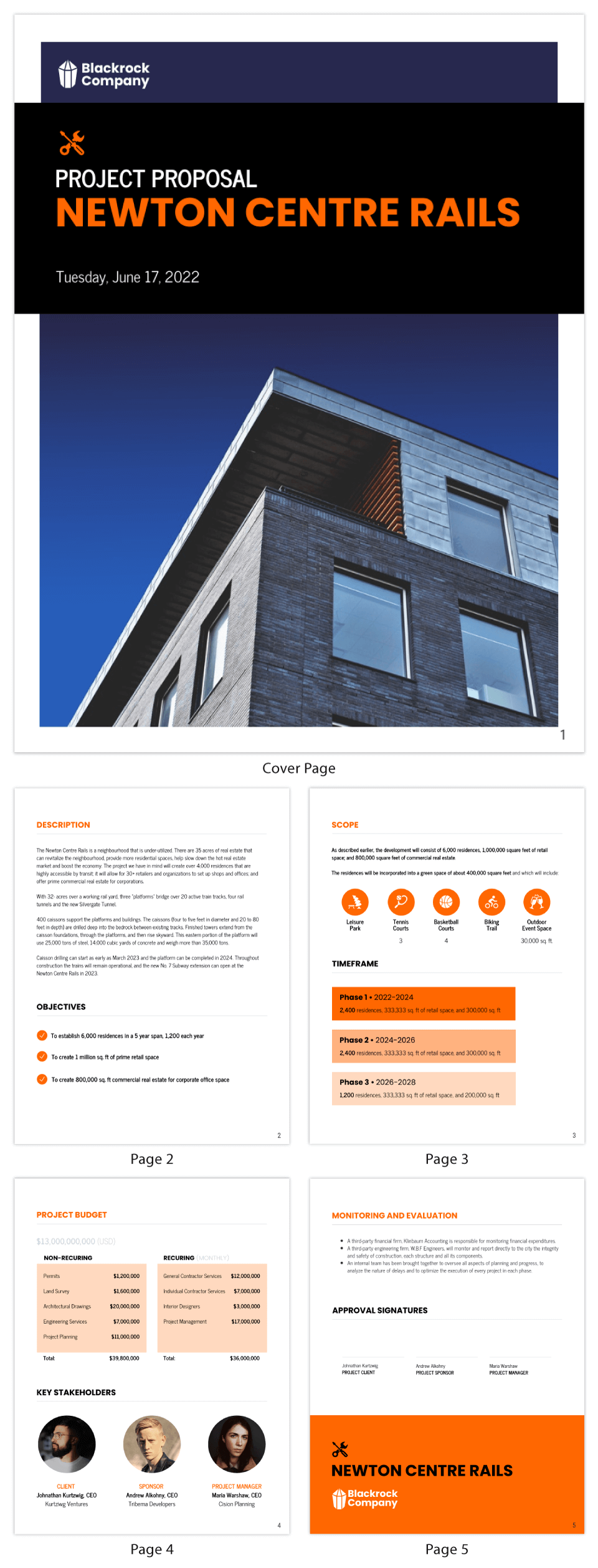 Orange Simple Project Proposal Template