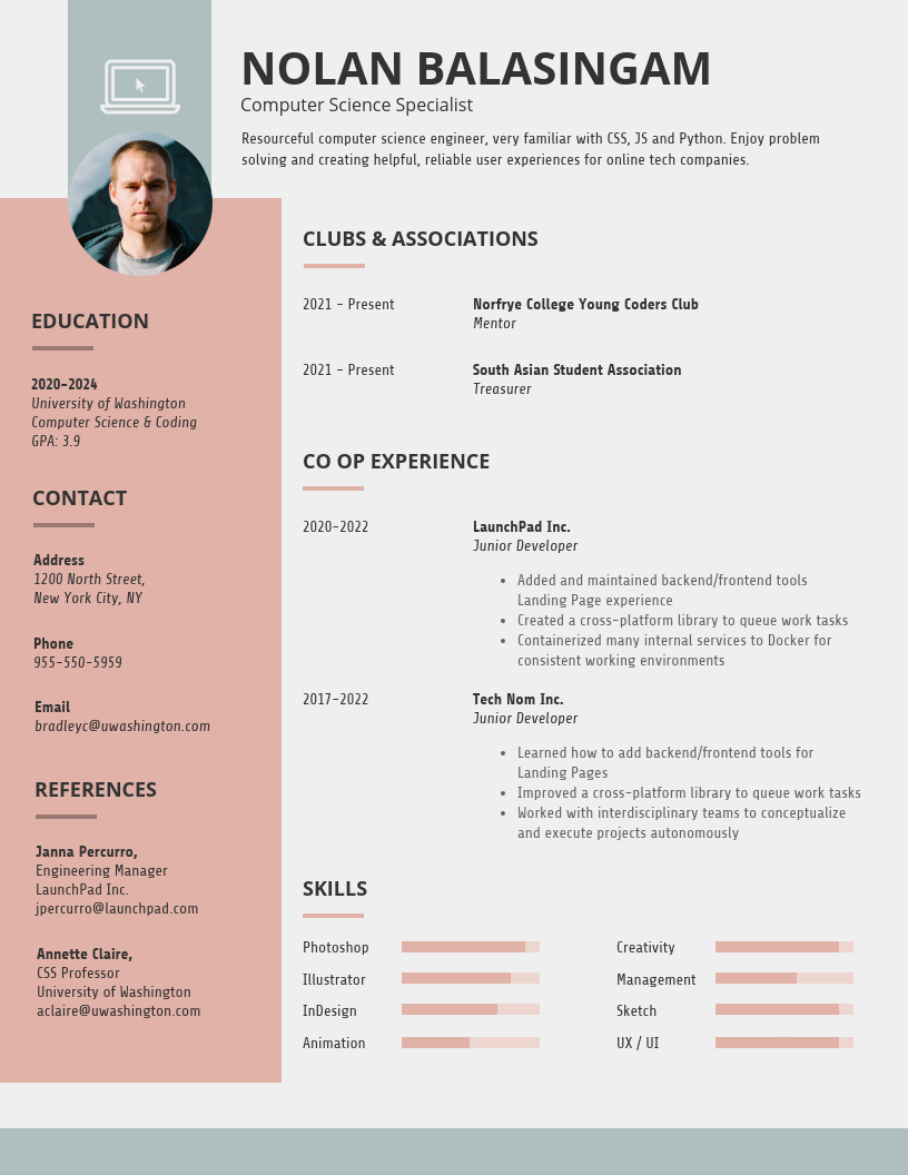 Simple College Student Resume Template