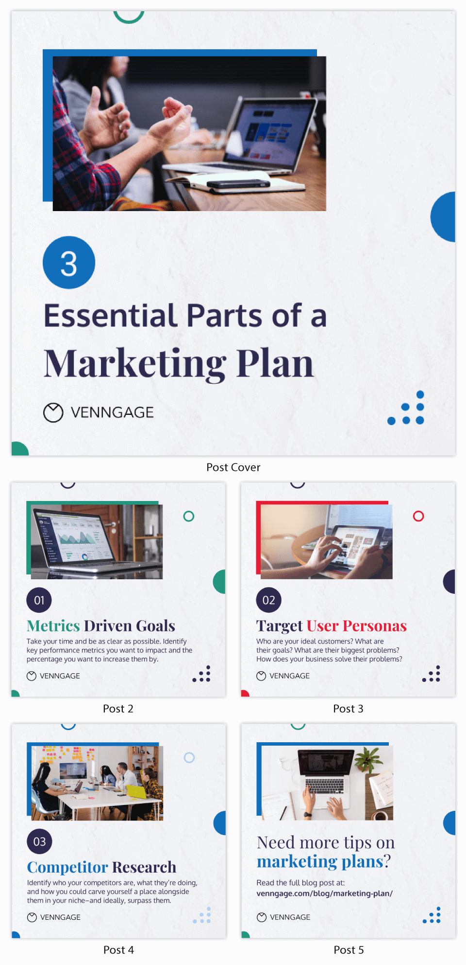 Muted Marketing Plan Instagram Carousel Post Template