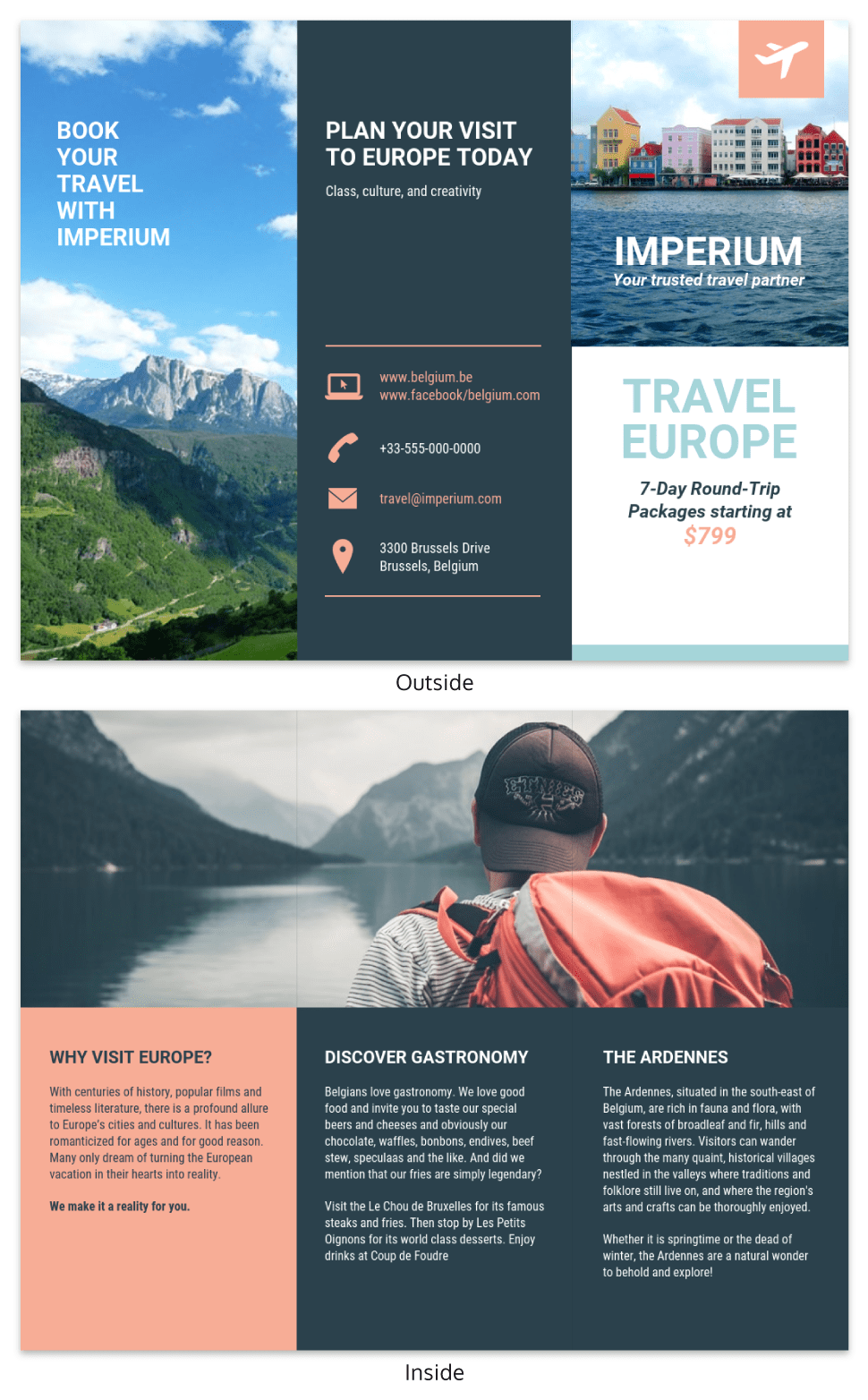 Europe Tourism Travel Tri Fold Brochure Template