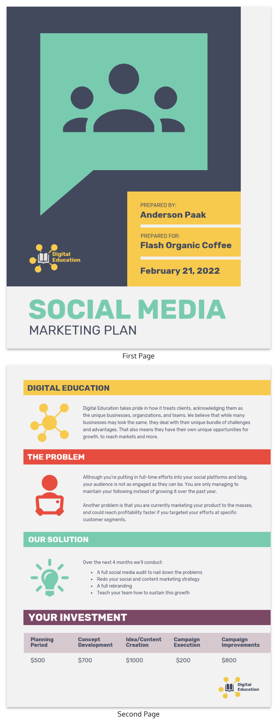 Bold Social Media Marketing Plan Template