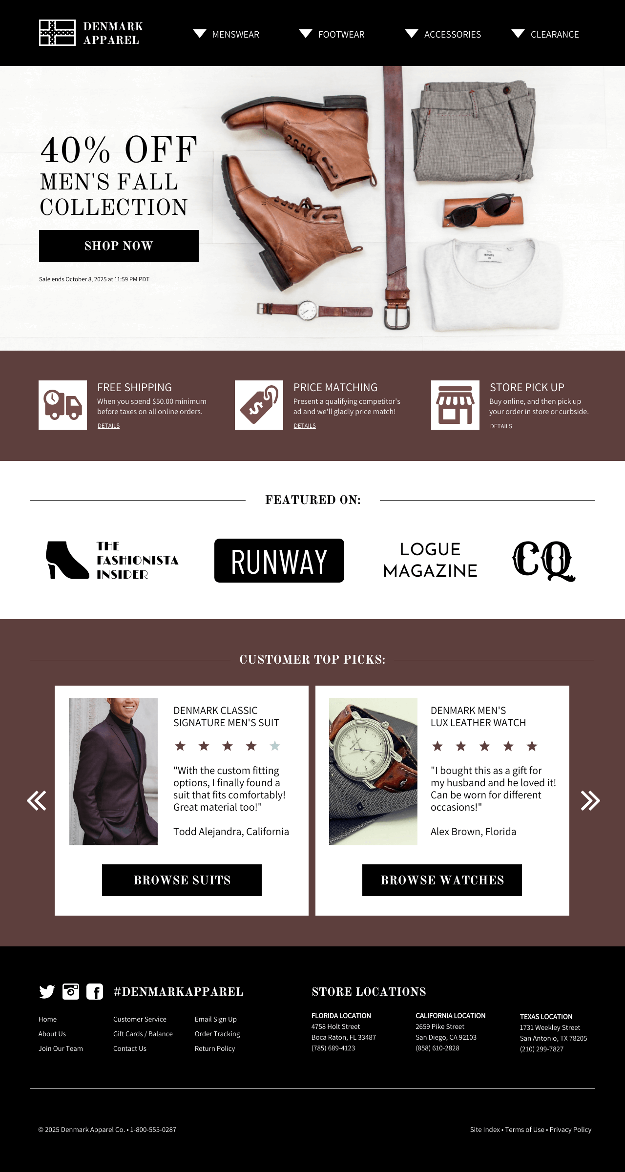 Ecommerce Retail Fashion Landing Page Template