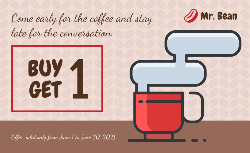 Buy One Get One Coffee Voucher Template