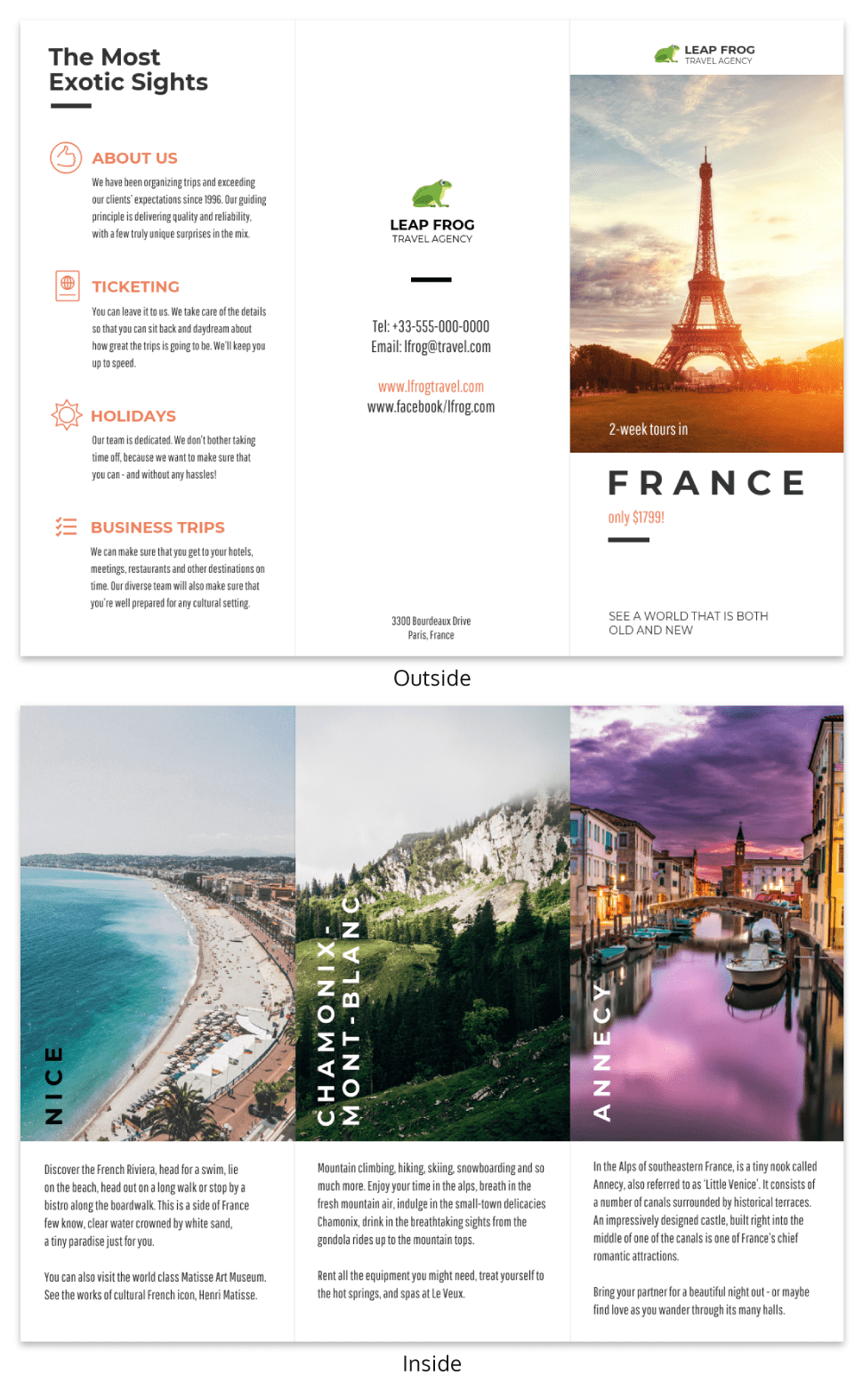 destination tri fold travel brochure