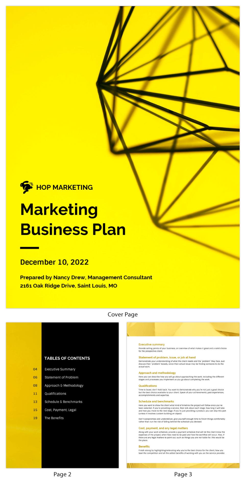 Yellow Marketing Business Plan Template