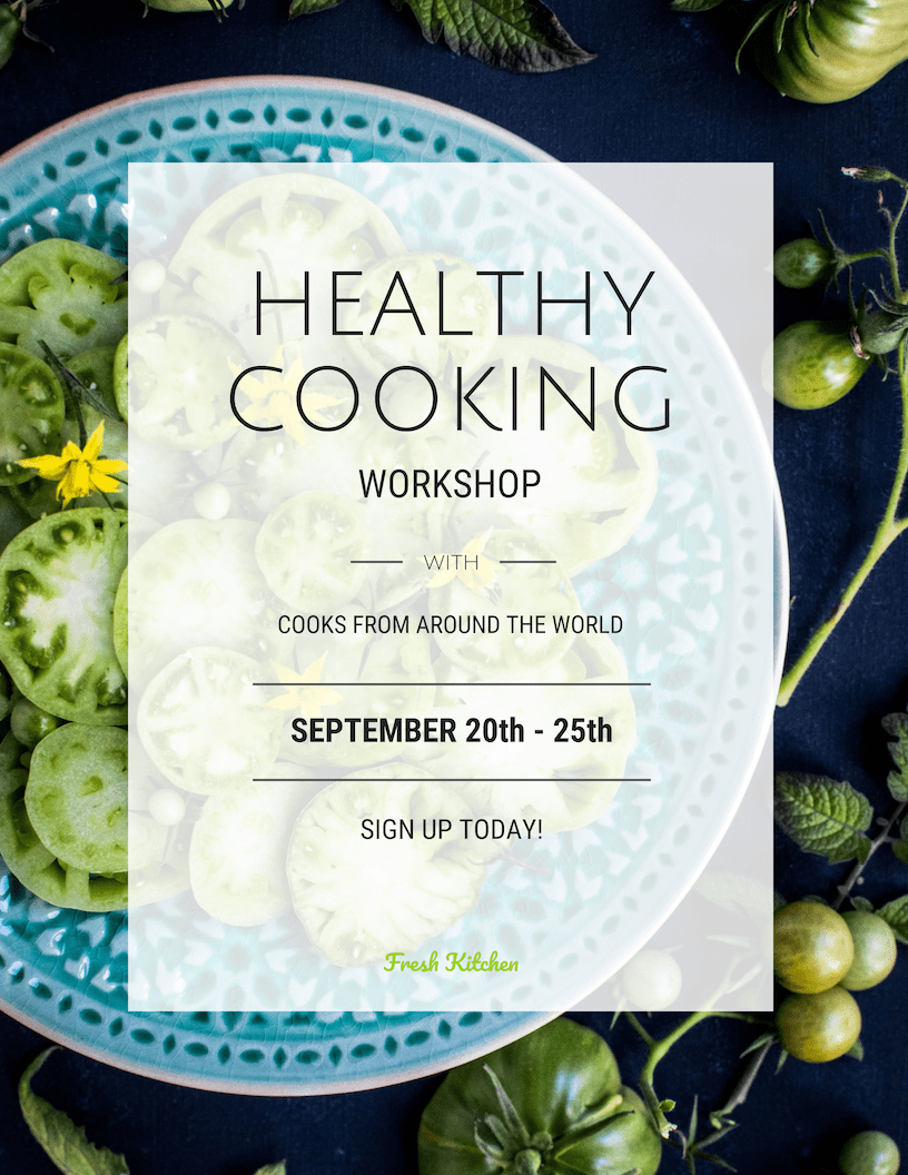 Simple White Cooking Lesson Poster Template