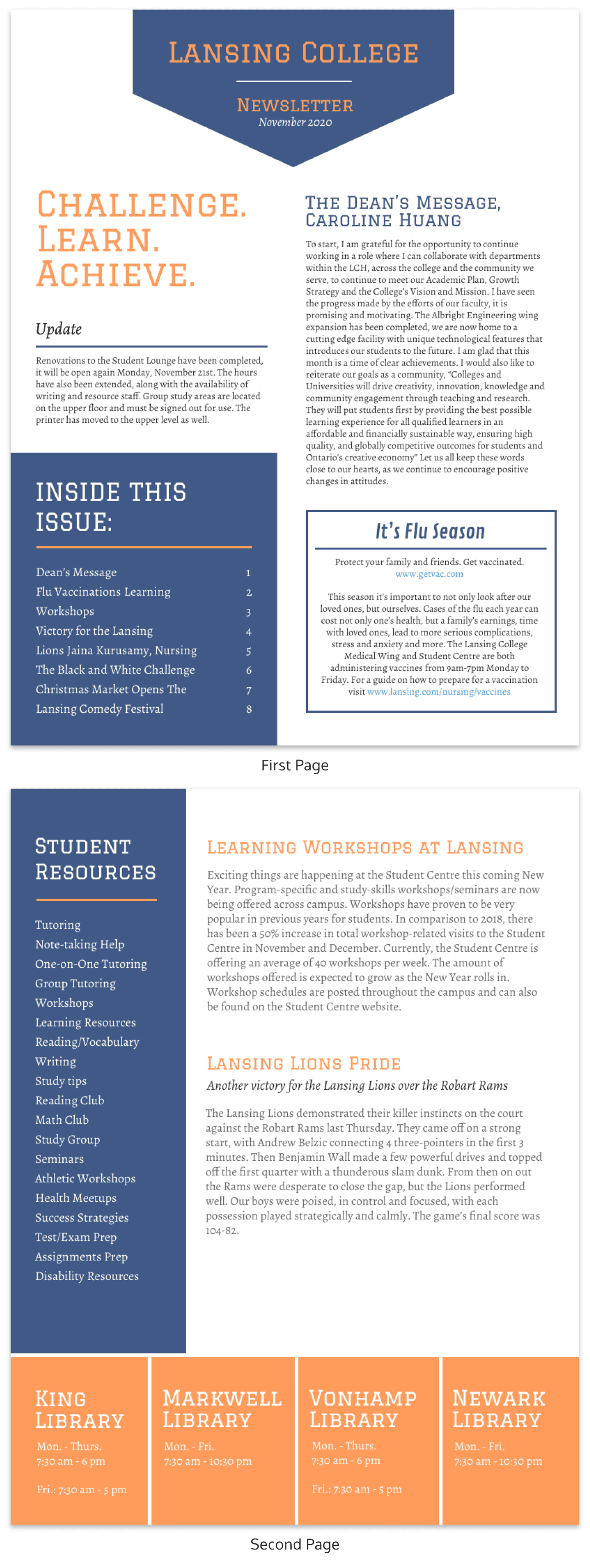 college newsletter template venngage