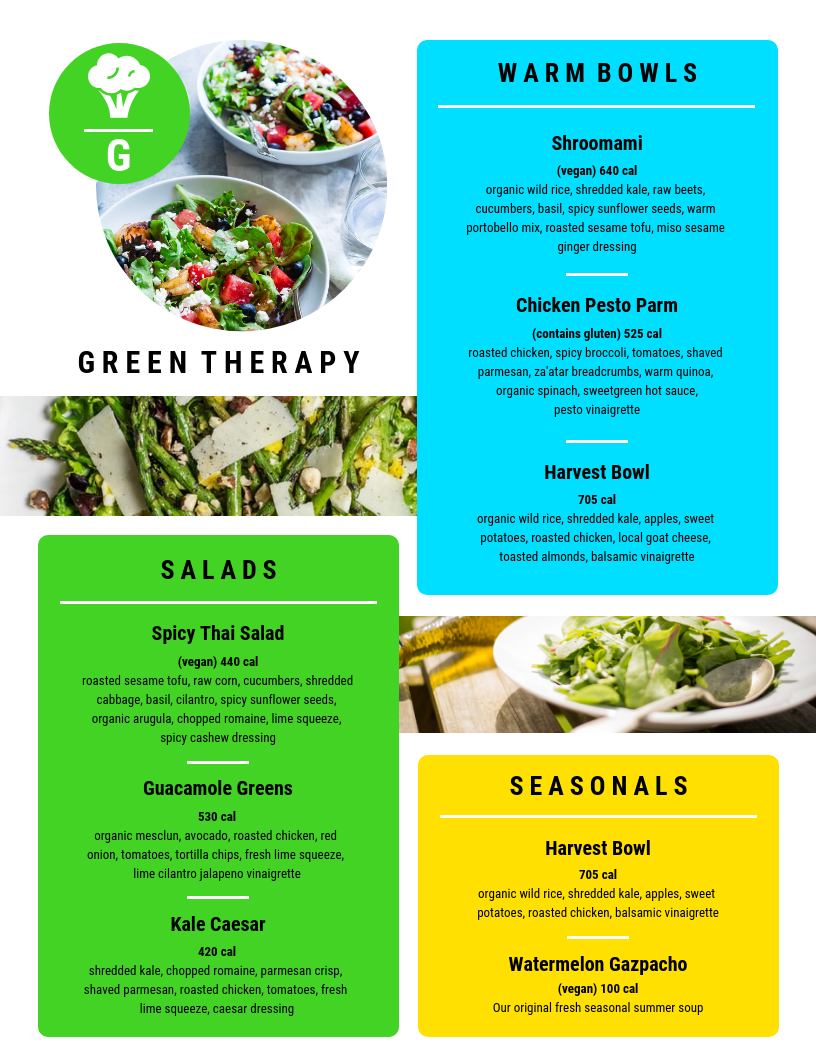 Vibrant Salad House Menu Template