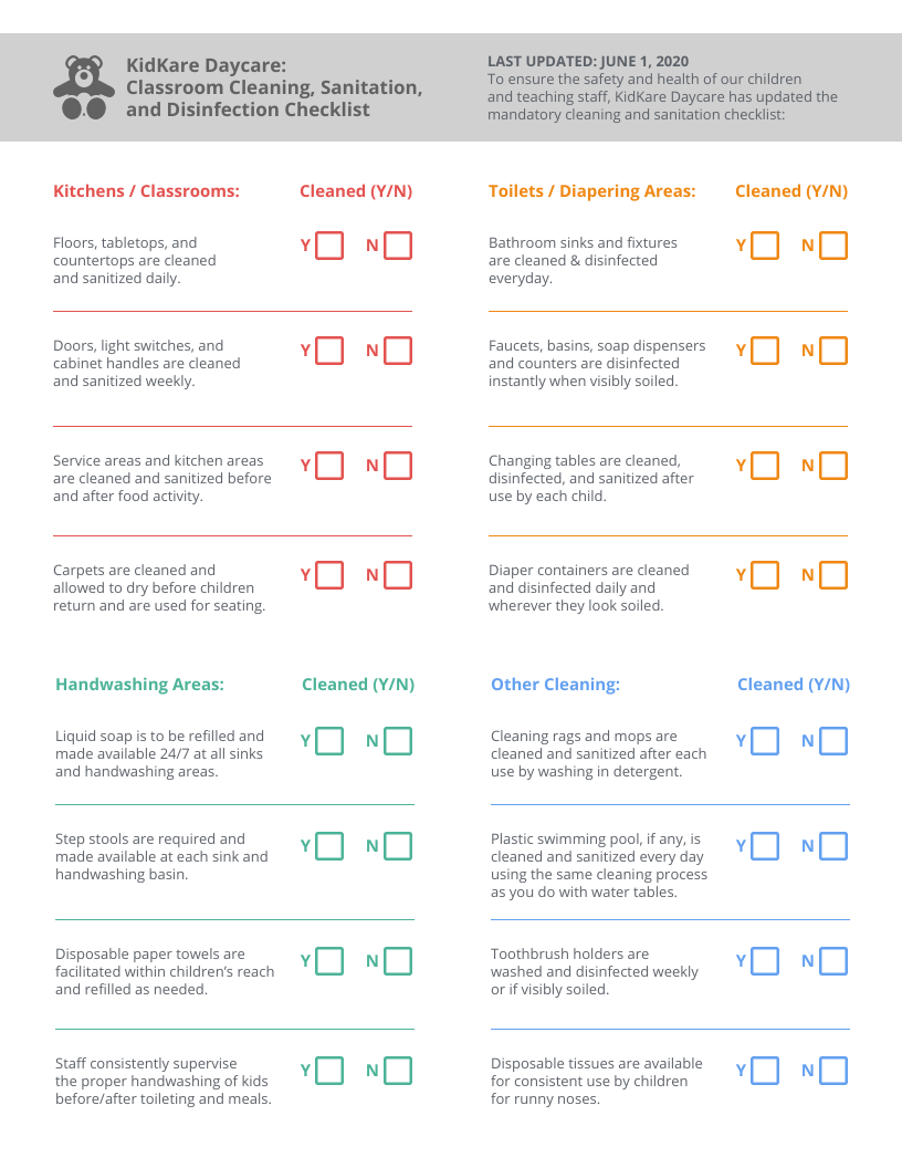 Classroom Health and Safety Checklist Template