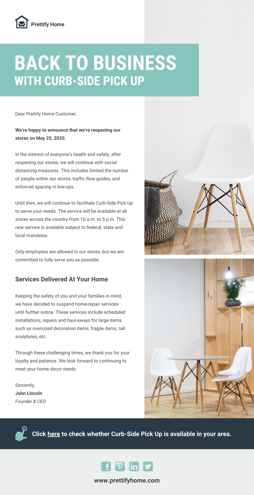 Home Store Reopening Email Newsletter Template