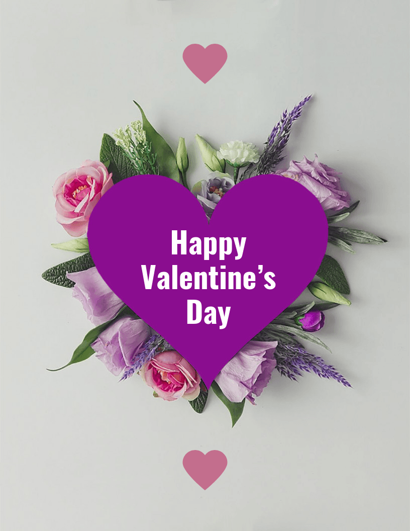 floral heart valentine's day card template