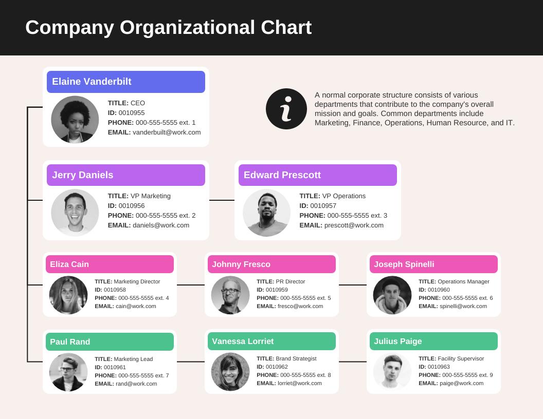 Modern Organizational Flow Chart Template