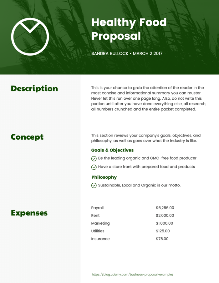 Healthy Food Proposal Template
