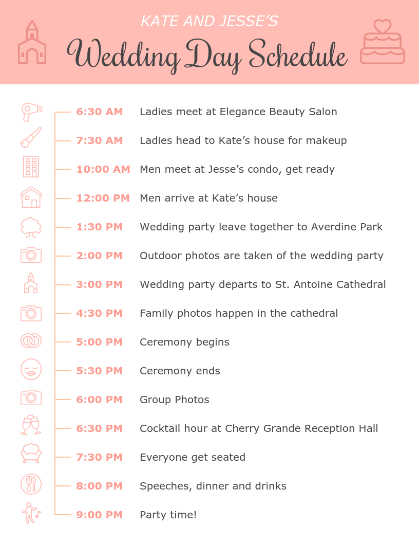 Pink Icon Wedding Day Schedule Template