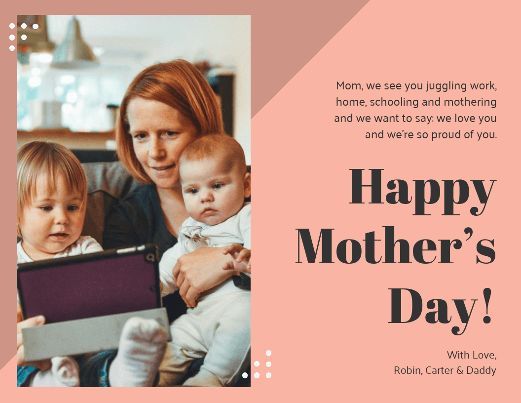 Work From Home Mother's Day Card Template