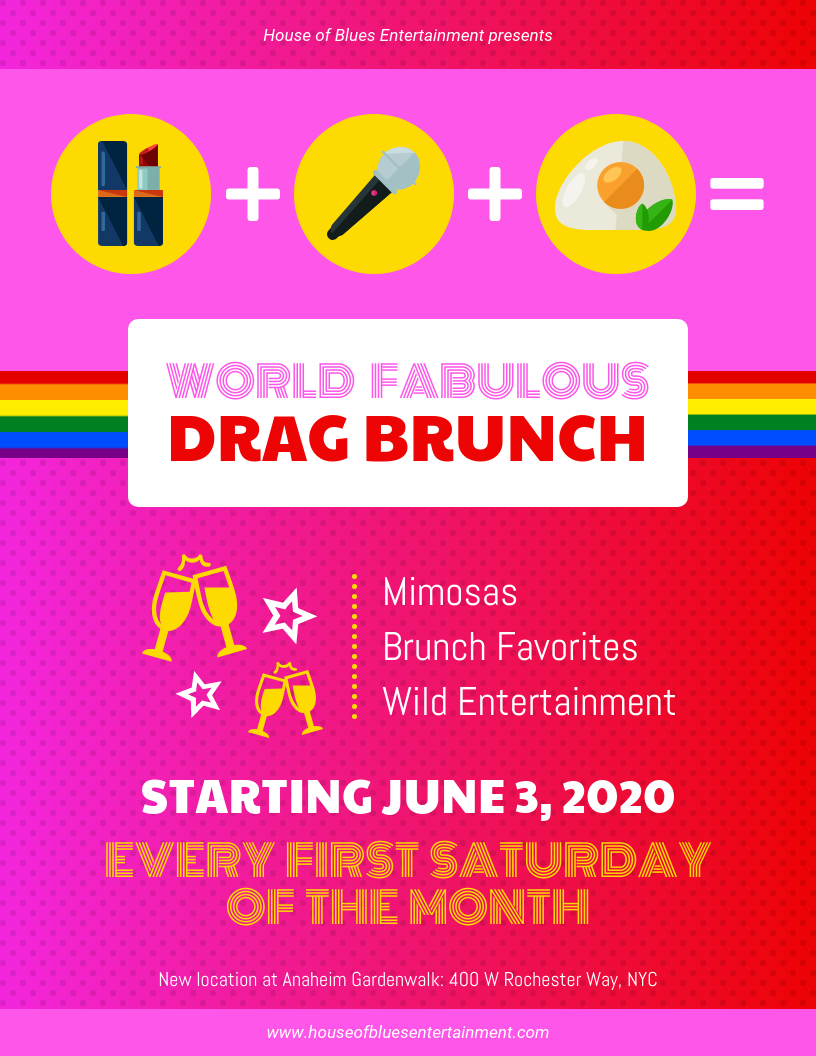 Pink Drag Brunch Event Flyer Template