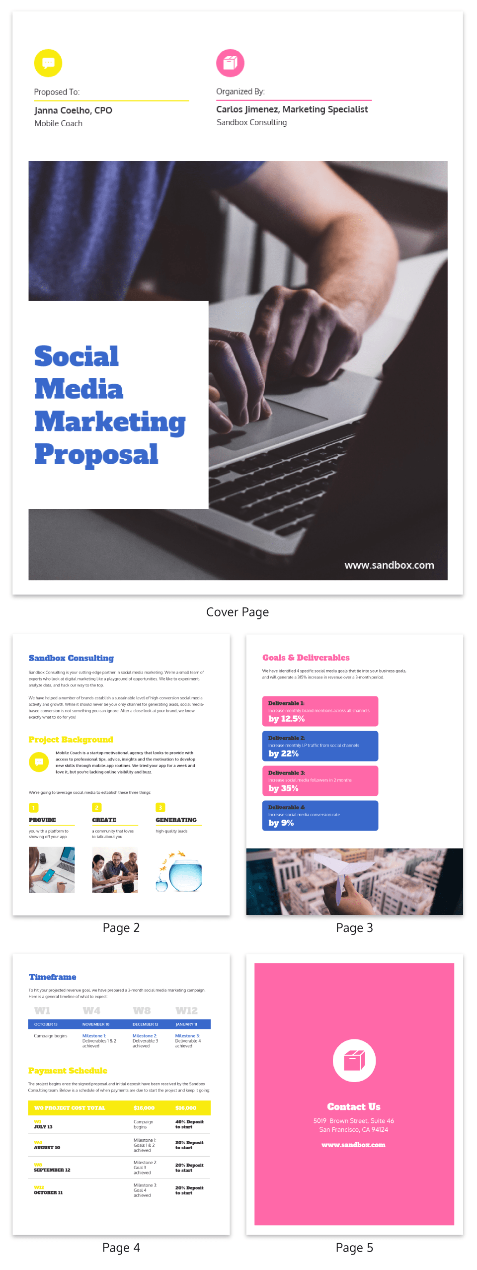 Bold Simple Social Media Marketing Proposal Template