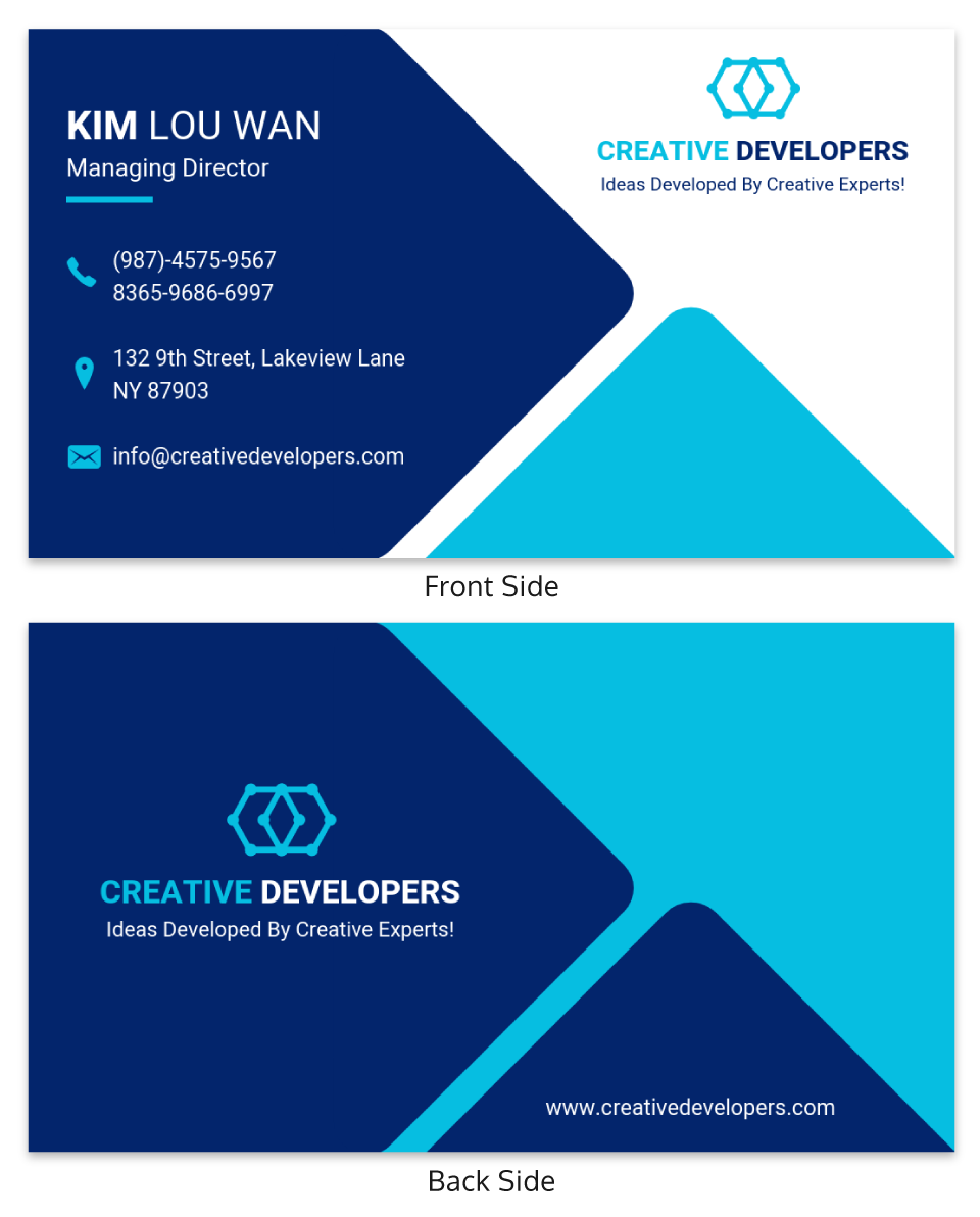 Blue Triangle Personal Business Card Template