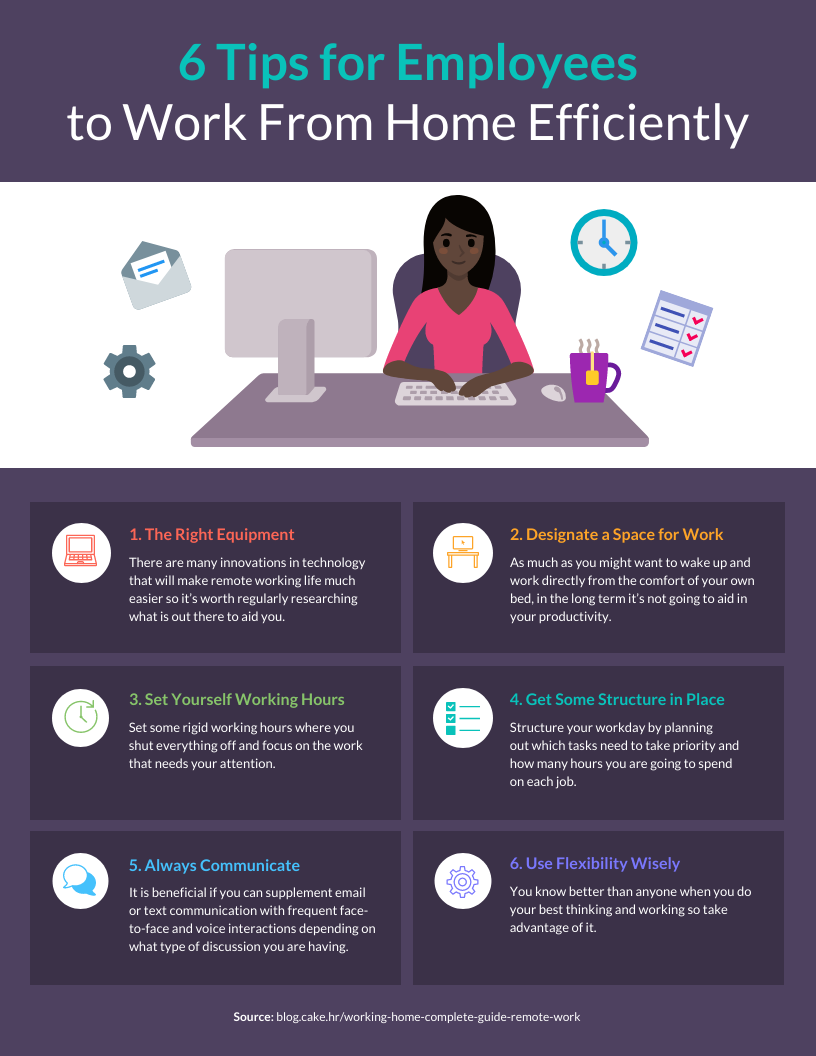 6 Tips for Remote Employees Infographic Template