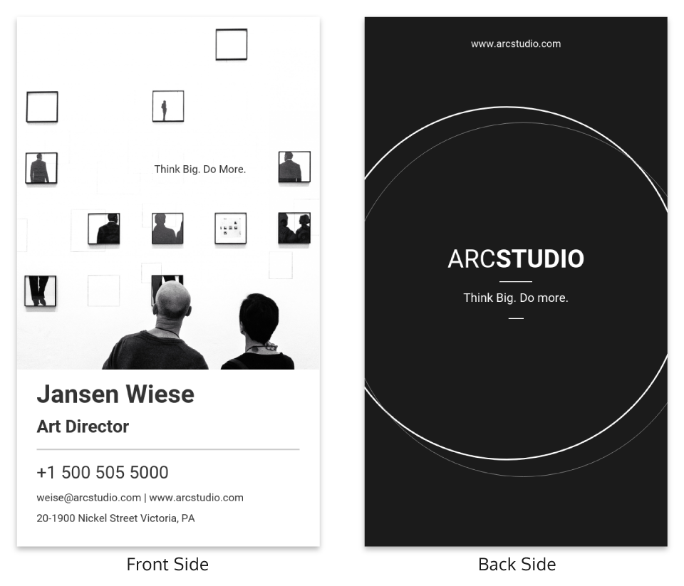 Black White Art Director Business Card Template