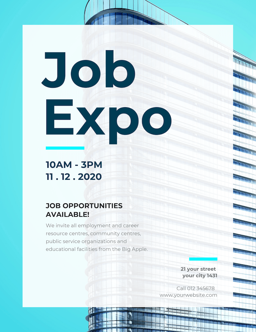 Blue Job Expo Event Poster Template