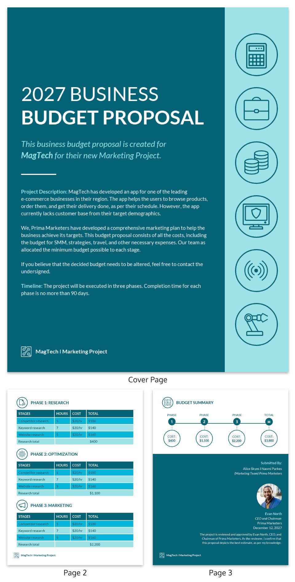 Blue Marketing Budget Proposal Template