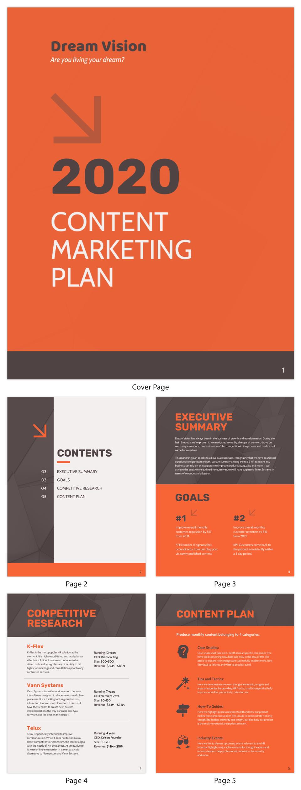 Orange Content Marketing Plan Template
