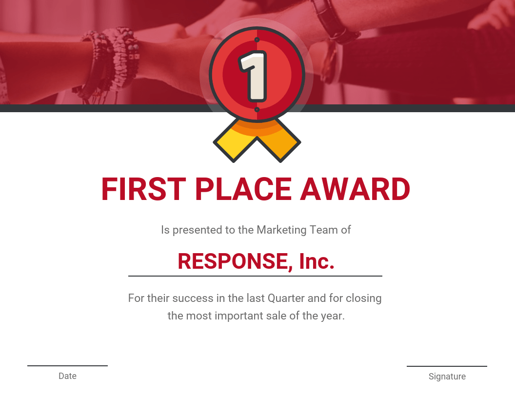 First Place Award Certificate Template Template - Venngage