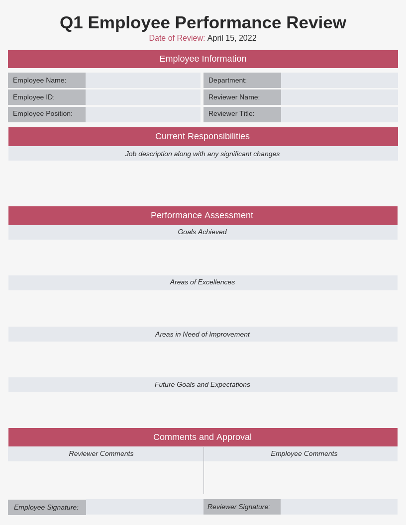 Minimal Q1 Employee Performance Review Template