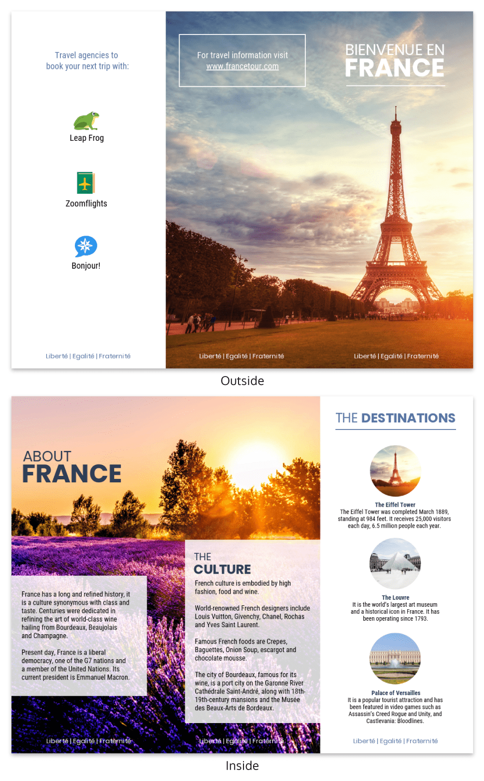 France Travel Tri Fold Brochure Template