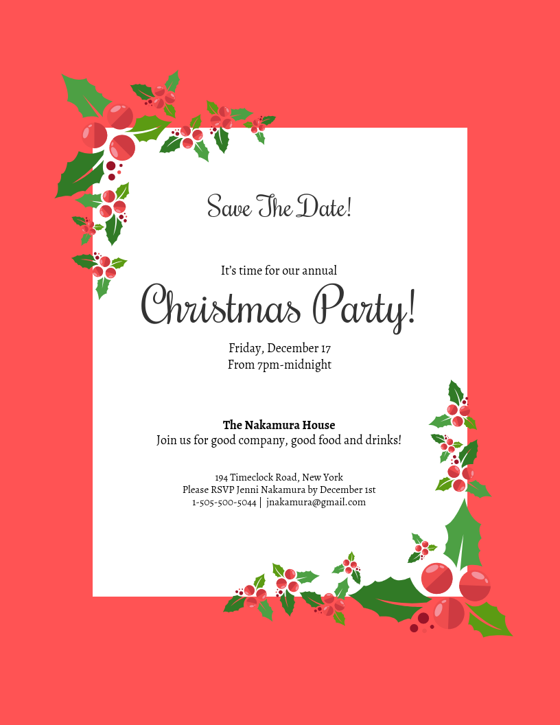 Christmas Save The Date.Save The Date Christmas Party Invitation Template Template