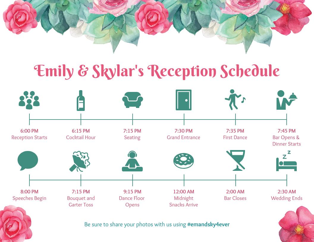Flower Wedding Reception Timeline Template