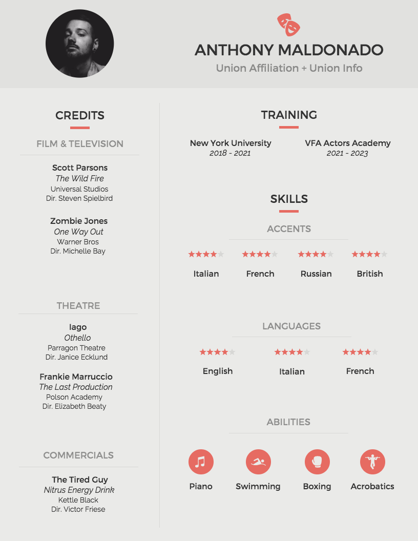 professional acting resume template venngage