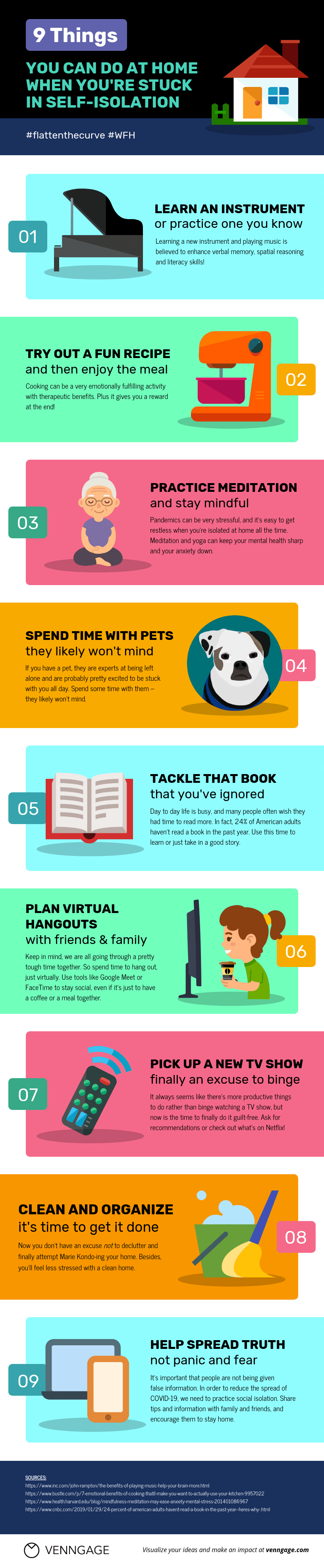 9 Ways to Manage Self-Isolation Infographic Template
