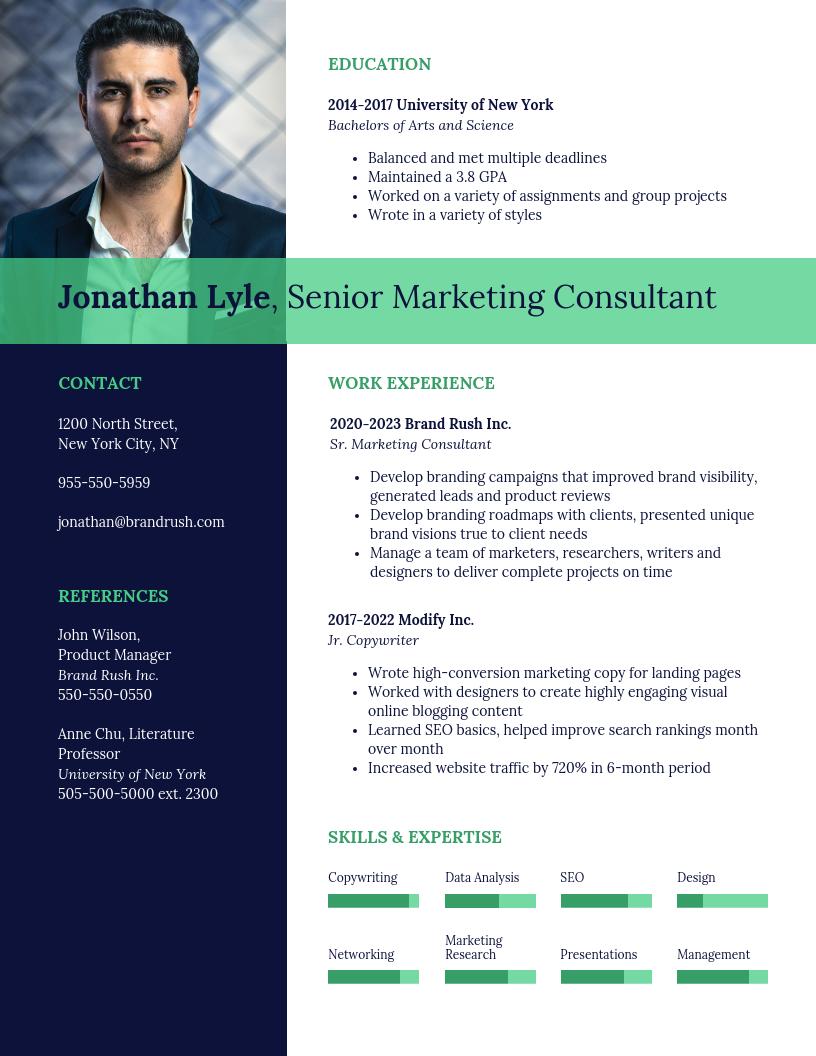 Dark Marketing Consultant Resume Template