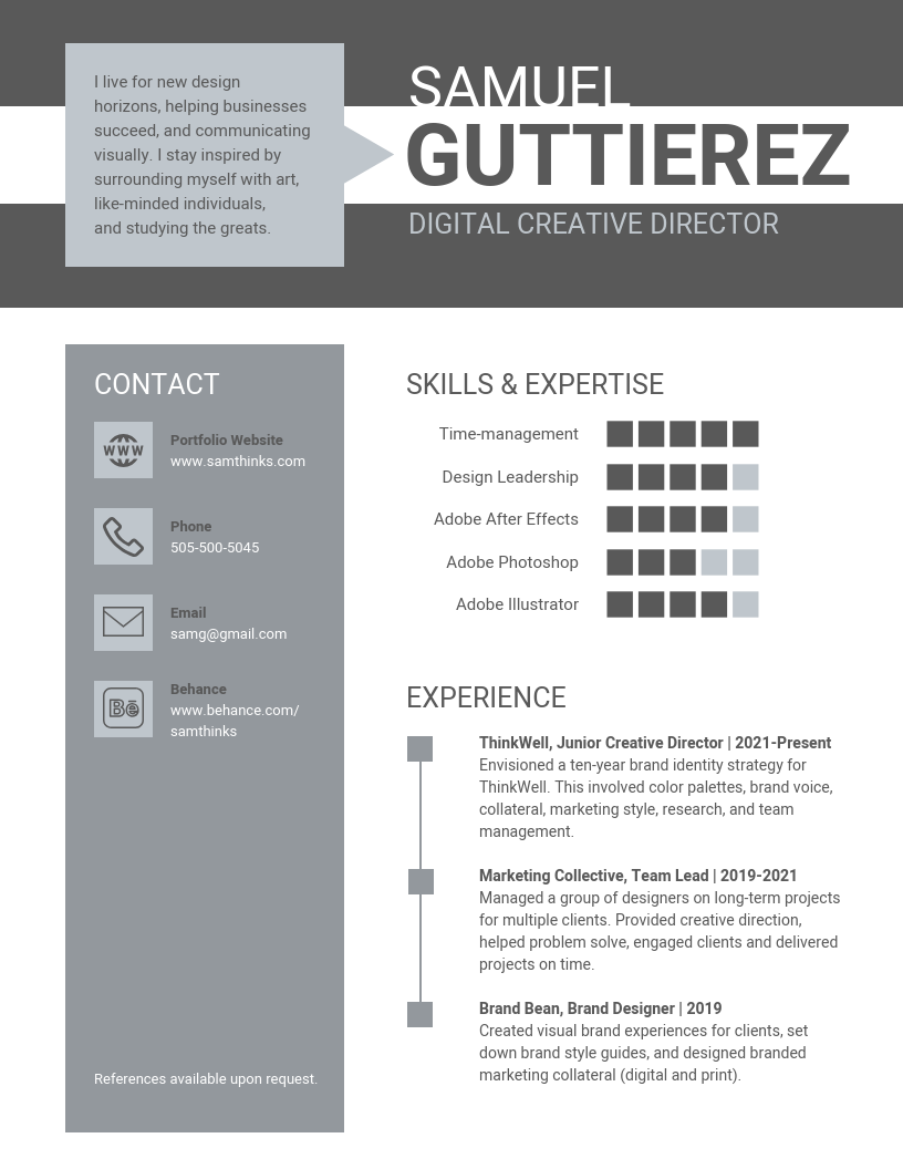Professional Gray Infographic Resume Template