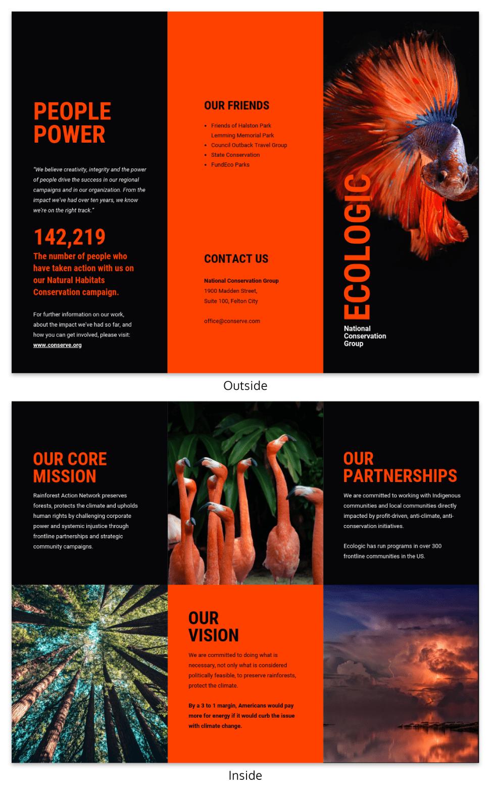 Bold Non Profit Conservation Tri Fold Brochure Template