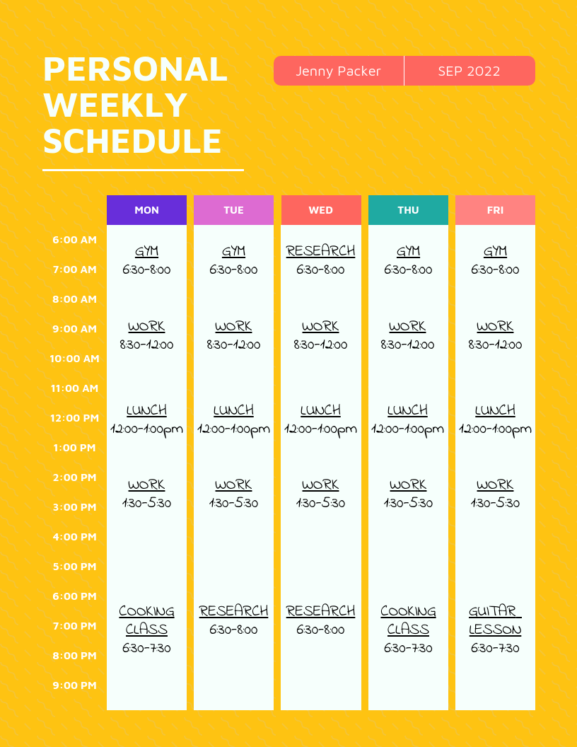Bright Personal Weekly Schedule Template