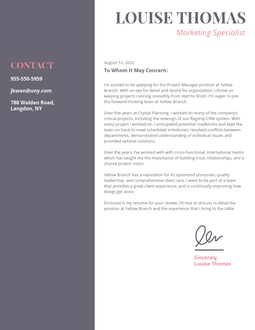 Light Marketing College Student Cover Letter Template
