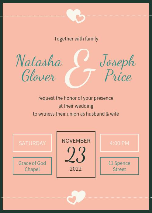 Light Pink Elegant Wedding Invitation Template